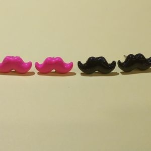 Mustache earrings (Hot Pink and Black)